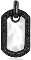 Stainless Steel Dog Tag Pendant with MOP and Black CZ
